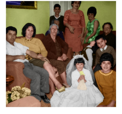 At Nanna Margaret's - A million and one thoughts raced through my head while working on this restoration. This must have been the most prevailing one; What would the family dynamics have been like back then? Decades after this photo was taken, I would be born into this family. I would grow up playing in that same sitting room. I would get to know much older versions of most of the people in this photograph. But I would never get to meet my great-grandparents. I only did so through this one picture. It's amusing for me to think that for them at that instant, this was once the present – and it was all that mattered.